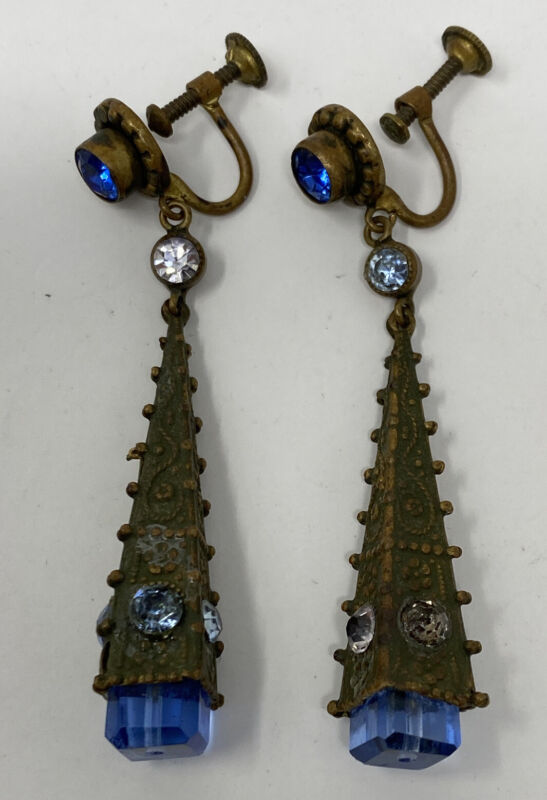 VINTAGE DECO CZECH BLUE CRYSTAL ORNATE DANGLE SCREW BACK EARRINGS circa 1920