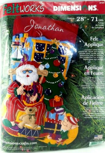 DIMENSIONS Christmas Stocking Craft NEW Felt Santa Tree Elf Gift FELTWORKS 8104
