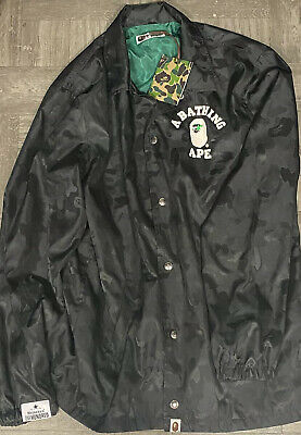 $410 Authentic A Bathing Ape Bape X Heineken 100 Coach Black Green Camo Jacket L