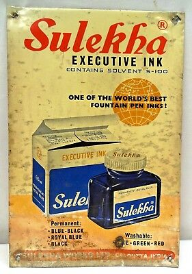 VINTAGE TIN SIGN OF SULEKHA EXECUTIVE FOUNTAIN PEN INK OLD COLLECTIBLES INKWELL