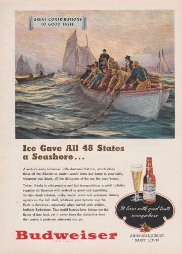 1948 Budweiser Beer Fisherman Boat Seashore Vintage Color Art Print Ad