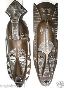 SET OF 2 TRIBAL MASKS WALL ART HANGING AFRICAN STYLE WOOD CARVING BALINESE 50CM