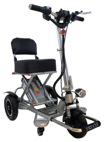 Enhance Mobility Triaxe Sport Foldable Portable 3 Wheel Electric Scooter Silver