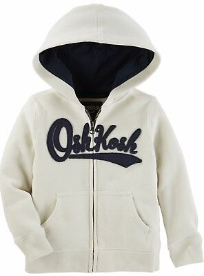 NEW OshKosh Solid Fleece Hoodie Jacket Off White Size 5 Little Boys NWT - Oshkosh Fleece Hoodie