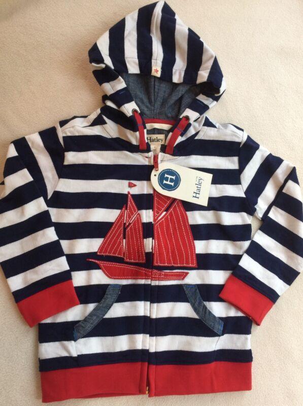 Hatley Kids Nautical Sweatshirt Striped Hooded Sailboat sz 4