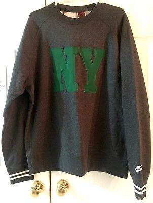 Nike NFL NY Jets Pullover Gray Sweatshirt w/Green Embroidered NY on front ~ XL - Jet Embroidered Sweatshirt