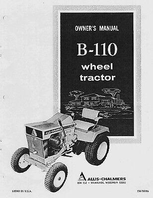Allis Chalmers B110 B-110 Wheel Tractor Operators Owners Manual Tm-7019a