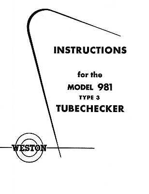 Weston 981 Type 3 Tube Tester Manual