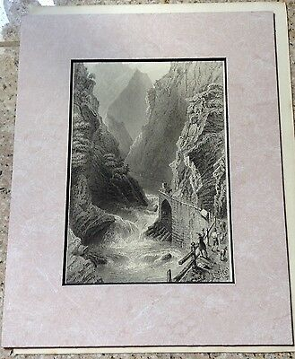 """Rare 1835 Petit Engraving From Painting by W. H. Bartlett, """"Scene on the Tessin"""