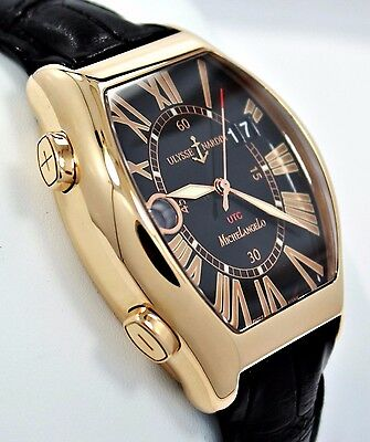 Ulysse Nardin Michelangelo Gigante UTC 226-11 18K Rose Gold 43mm Men Watch *MINT