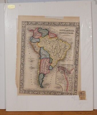 Antique 1860 Map of South America with Proposed Route of Panama Canal Mitchell