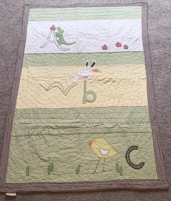 Pottery Barn Kids ABC Quilt Blanket Green Gingham Unisex Cotton Yellow Animal