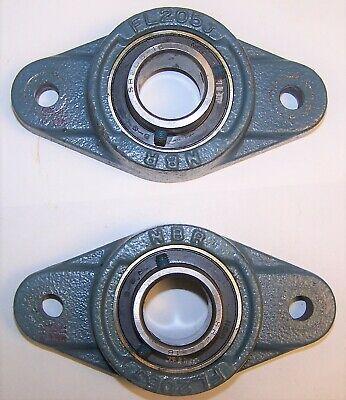 2 Nbr Fl205j Sr 205-16 Two Bolt Flange Bearing 1 Inch Diameter Shaft Hole Used