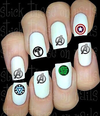 30 Avengers Logo Nail Art Decals Stickers Transfers Party Favors