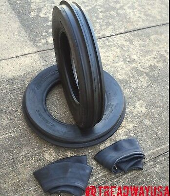 Two 400x15 400-15 4.00x15 4.00-15 John Deere 3 Rib Tractor Tires With Tubes