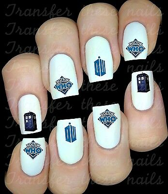 DOCTOR DR WHO NAIL ART DECALS WATER SLIDE  PARTY FAVORS MIX & MATCH BLUE Match Favor Stickers
