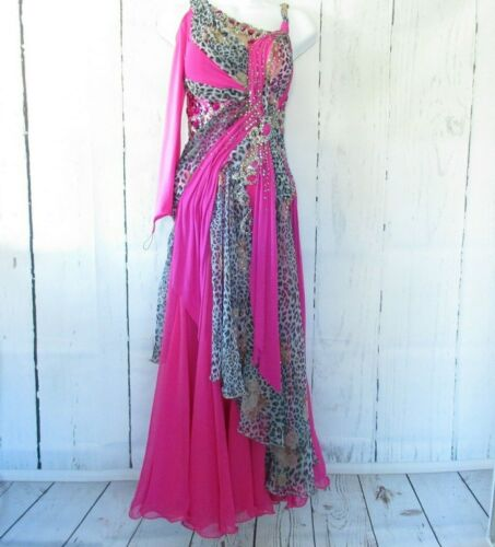 Artistry In Motion Dress XS S Pink Leopard Crystal Ballroom Dancing Latin Salsa
