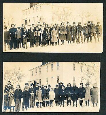 (2) 1907 NEBRASKA SCHOOL CHILDREN & TEACHER Vintage LARGE Real Photo (Teacher 2 Postcards)