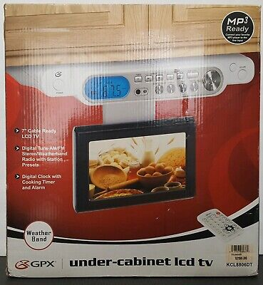"""GPX Under Cabinet 7"""" LCD TV, Digital Tuner Timer AM/FM Stereo Remote Weather NEW"""