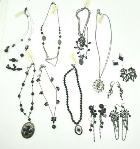 wholesale lot of 12 black beaded Victorian Style necklaces earrings lockets
