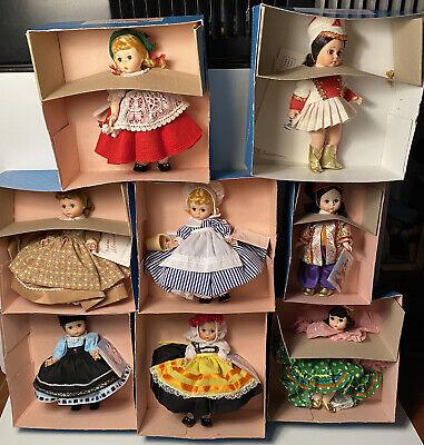 """Original 1980's Lot of 8 Madame Alexander 8"""" Dolls Mint In Box MIB Great Lot"""