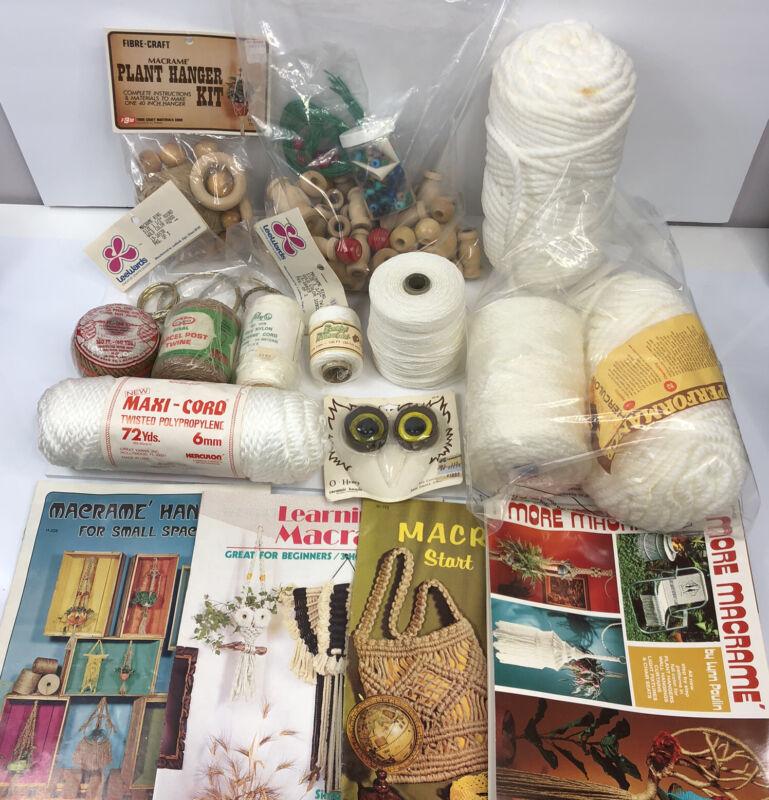 Vintage Macramé Cord Lot Wood Beads Pattern Books Rings Plant Hanger Kit PLUS