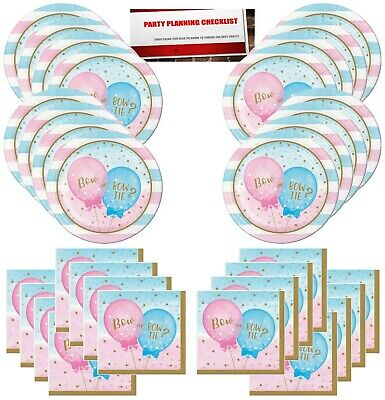 Gender Reveal Boy or Girl Bow or Bow Tie Party Supplies Bundle Pack for 16 Gu... (Boy Gender Reveal)