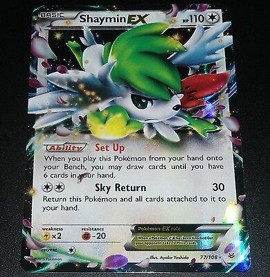 Shaymin EX 77/108 XY Roaring Skies HOLO Pokemon Card NEAR MINT