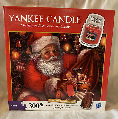 New Sealed Yankee Candle Christmas Eve Scented Puzzle 300 Piece Jar Shaped Santa