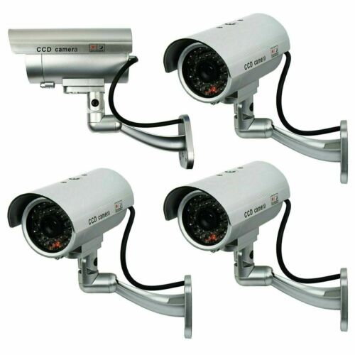 4 Pack IR Bullet Dummy Fake Surveillance Security Camera CCTV with Record Light