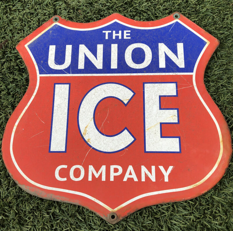 "VINTAGE UNION ICE COMPANY SHIELD 12"" PORCELAIN Steel ENAMEL GASOLINE OIL SIGN"