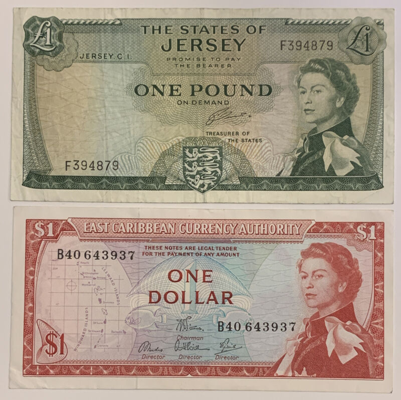 Young Queen, £1 States Of Jersey & $1 East Caribbean. 2 Banknotes