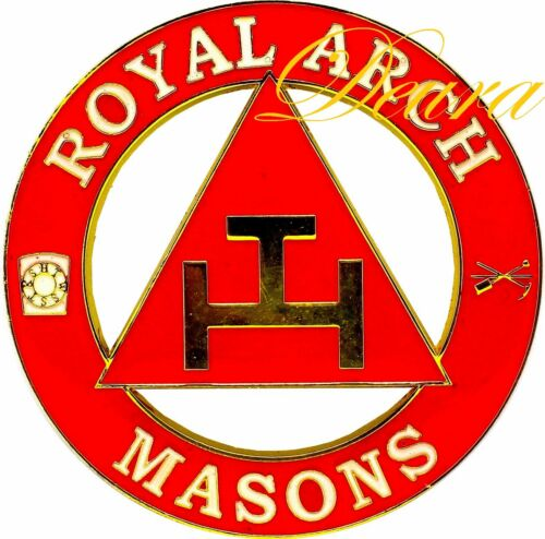 "Masonic 3""  Royal Arch Masons Car Auto Emblem  Red // Gold DMCE04"