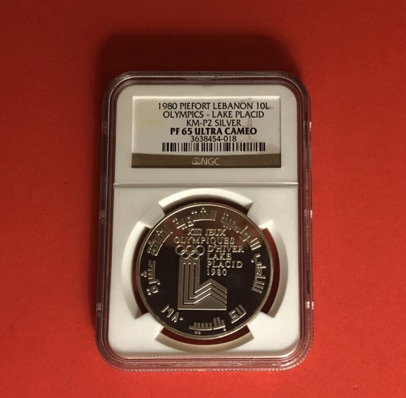 LEBANON-10L((PIEFORT))SILVER PROOF,WINTER OLYMPIC 1980,GRADED BY NGC PF65.RARE