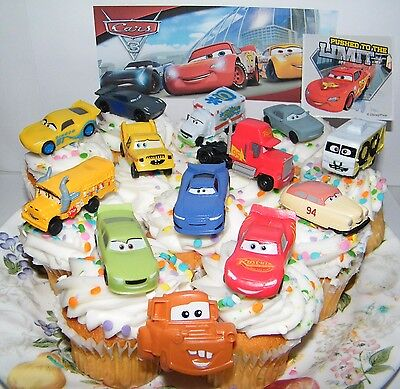 Disney Cars 3 Movie Cake Toppers Set of 14 with 12 Cars, Cars Ring and