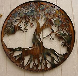 tree of life wall metal art decor 24 by hgmw ebay. Black Bedroom Furniture Sets. Home Design Ideas