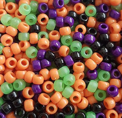 100 Halloween Scream Pony Beads Loom Bands Dummy Hair Black Green Orange Purple](Halloween Loom Bands)