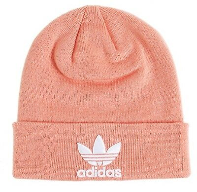 0b28ad11 Adidas Beanie Trefoil Beanie Hat Winter Pink White Knit-wear Warm GYM Cap  DV2486