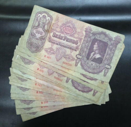 20 Hungary Magyar 100 / one hundred pengo banknotes 1930 wholesale lot notes