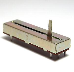 Alps Stereo Lautstärke-Schiebe-Potentiometer / Volume Fader, 50 kOhm, log, NOS