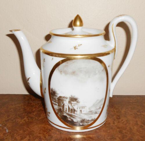 """Antique 18th Century 1790 Old Paris Teapot Hand Painted """"en grisaille"""" Landscape"""