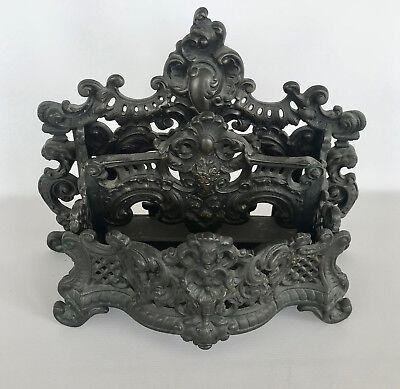BRONZE METAL LETTER OR NAPKIN HOLDER, ART NOUVEAU, VERY ORNATE, ANTIQU - Nouveau Metal Letters