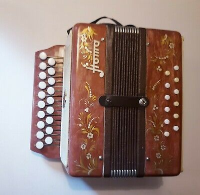 Vintage Russian HOMA BUTTON ACCORDION HARMONIC COLLECTIBLE MUSICAL INSTRUMENT