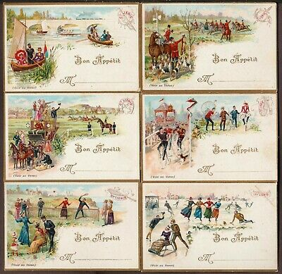 """LIEBIG T-8 """"SPORTING SCENES"""" FULL SET 6 VINTAGE TABLE (PLACE) CARDS 1893 FRENCH"""