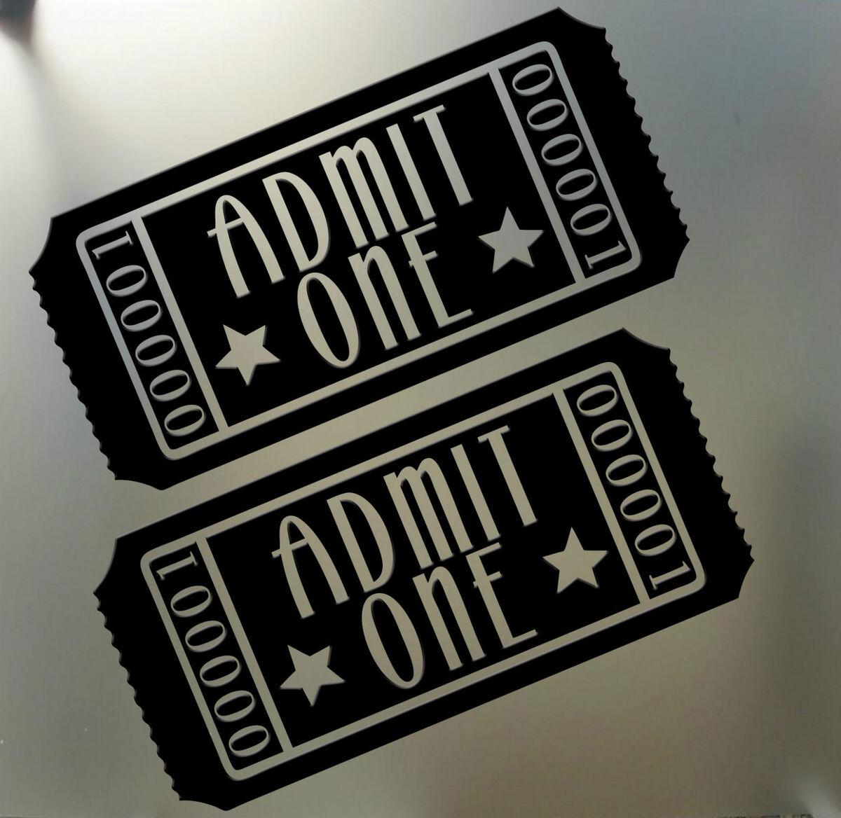 Home Theater Movie Tickets Admit One Vinyl Wall Art Decal Sticker