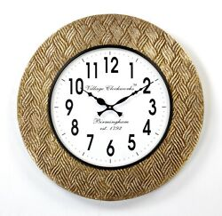Vintage Home Decor Antique Look Brass Engraving Work Wall Clock India - 311