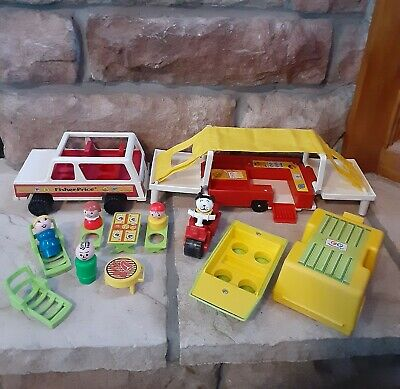 Vintage Fisher Price Little People Play Family POP UP CAMPER #992 COMPLETE 🏕⛺🌞