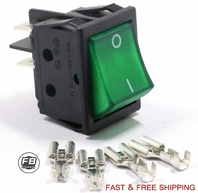 New Canal R Series Rocker Switch Black Double Pole 20a 16a 125v 250v