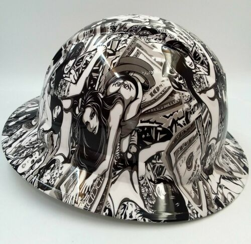 Hard Hat FULL BRIM custom hydro dipped , OSHA approved HUSTLER GIRLS NEW SUPER 2