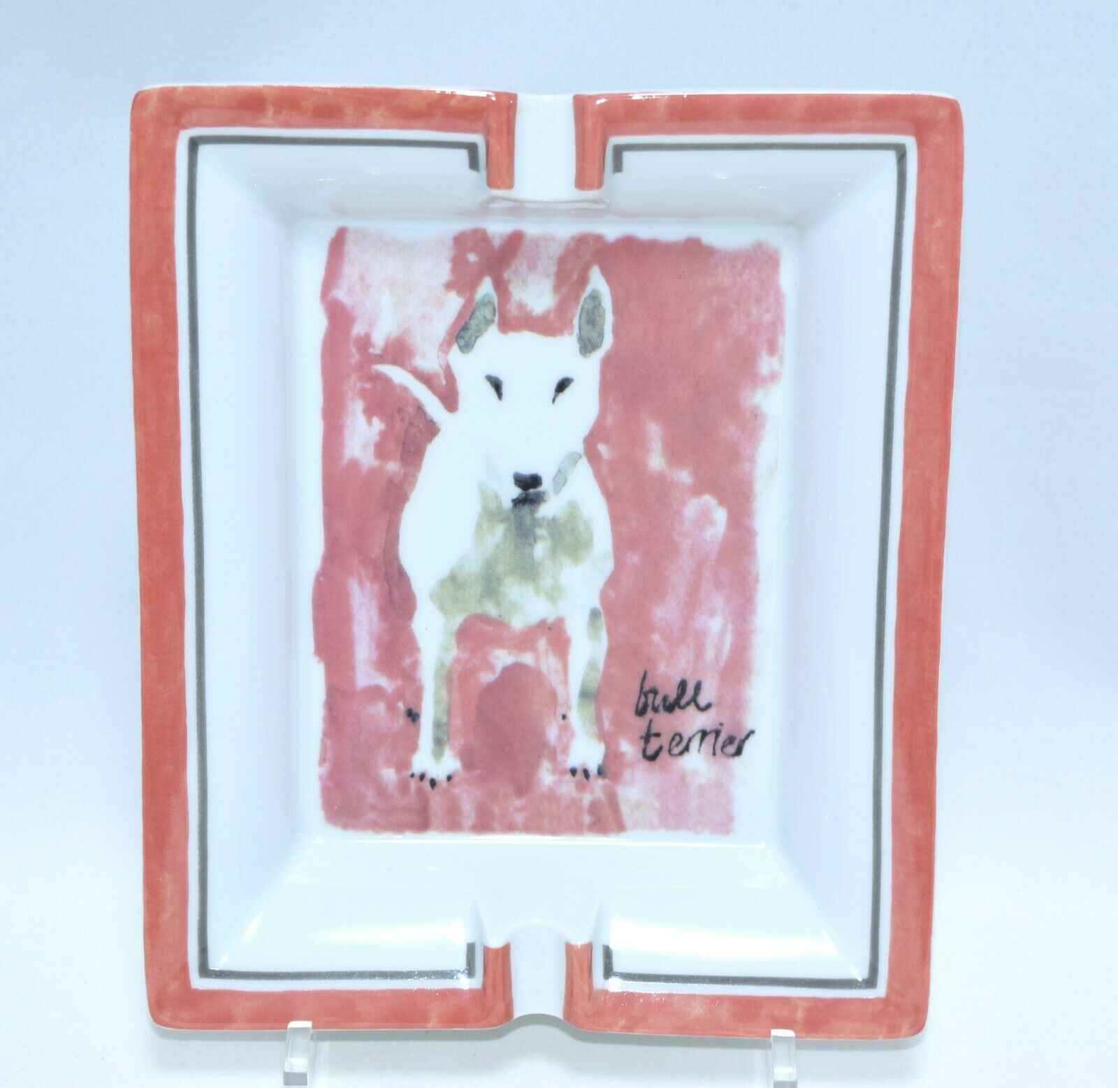 Hermes changer plateau bull terrier cendrier porcelaine dog rose vide poche arts
